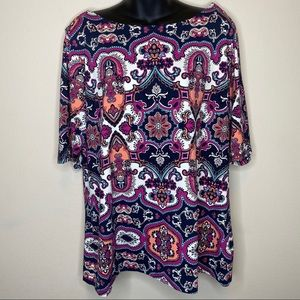 Charter Club Navy Paisley Boat Neck Top Size XXL